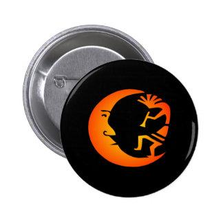 Kokopelli Moon-Black Pinback Buttons
