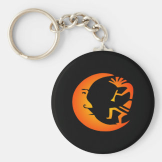 Kokopelli Moon-Black Basic Round Button Key Ring