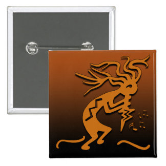 Kokopelli Musician 15 Cm Square Badge