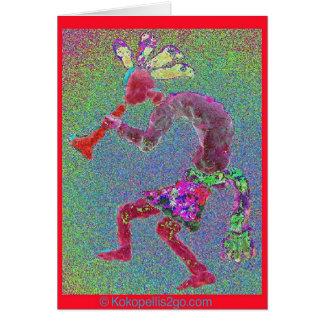 KOKOPELLI MYSTICAL RED-RED BORDER CARD
