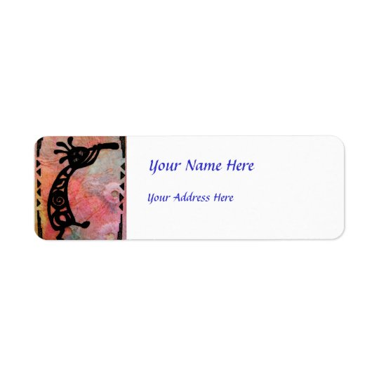 Kokopelli on Rice Paper and Painted Background Return Address Label