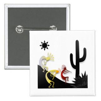 Kokopelli on the road 15 cm square badge