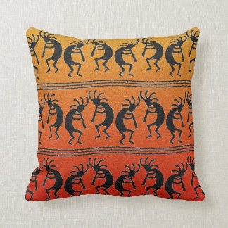 Kokopelli Orange Ombre Southwest Design Pillow