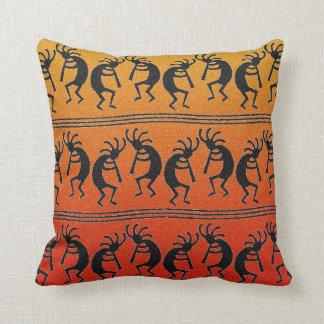 Kokopelli Orange Ombre Southwest Design Pillow Throw Cushion