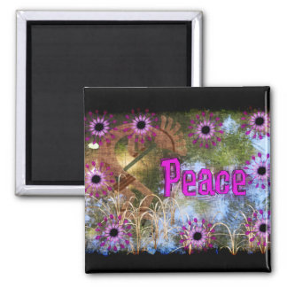 Kokopelli Peace Square Magnet
