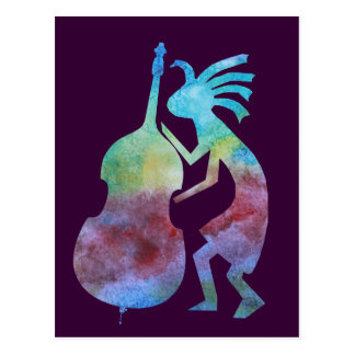 Kokopelli Plays Bass Postcard