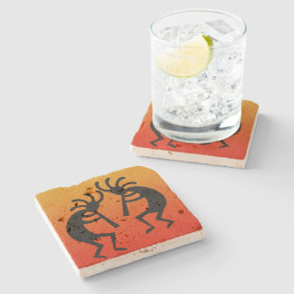 Kokopelli Southwest Sunset Rustic Travertine Stone Coaster
