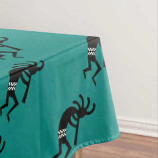 Kokopelli Southwest Teal And Black Tablecloth