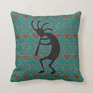 Kokopelli Southwest Turquoise Decorative Pillow