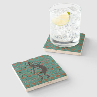 Kokopelli Southwest Turquoise Rustic Travertine Stone Coaster