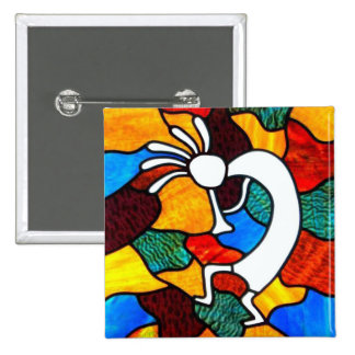 Kokopelli Stained Glass 15 Cm Square Badge