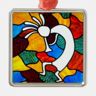 Kokopelli Stained Glass Silver-Colored Square Decoration