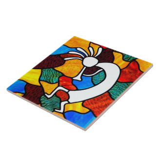 Kokopelli Stained Glass Tile