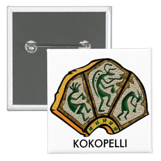 Kokopelli Stone 15 Cm Square Badge