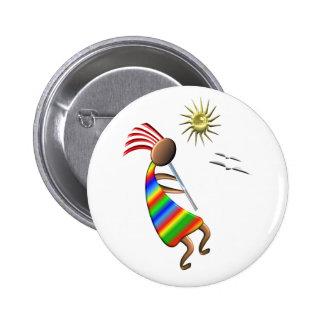Kokopelli Sun and Birds Button