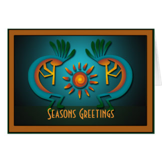 Kokopelli Sun Christmas Template Greeting