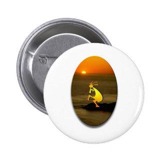 Kokopelli Sunset #2 6 Cm Round Badge