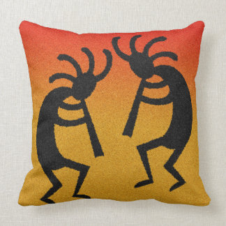 Kokopelli Sunset Southwest Design Throw Pillow
