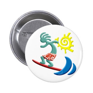 Kokopelli Surfing 6 Cm Round Badge