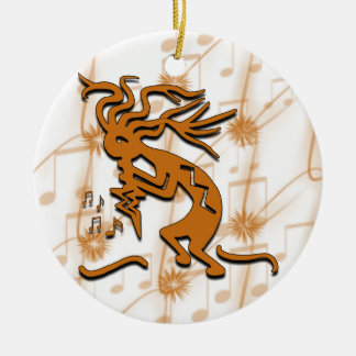 Kokopelli With Musical Notes Round Ceramic Decoration