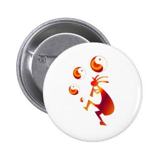 Kokopelli with Red Yin Yang 6 Cm Round Badge