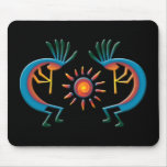 Kokopelli with Sun Southwest Black Mousepad