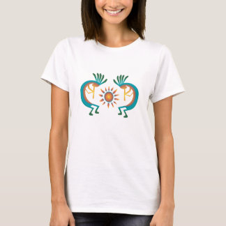Kokopelli with Sun Southwest Ladies White Top