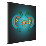 Kokopelli with Sun Wraped Canvas Print Stretched Canvas Print