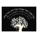 Kol Sasson Hebrew Jewish Wedding Black Personalized Invite