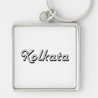 Kolkata India Classic Retro Design Silver-Colored Square Key Ring