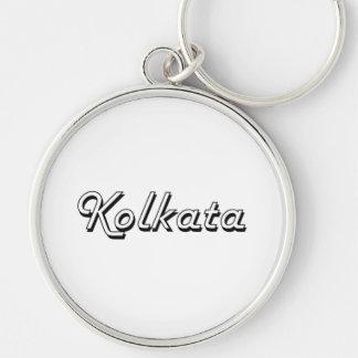 Kolkata India Classic Retro Design Silver-Colored Round Key Ring