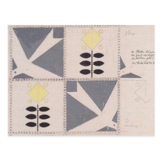 Koloman Moser- Draft of furniture decoration Postcard