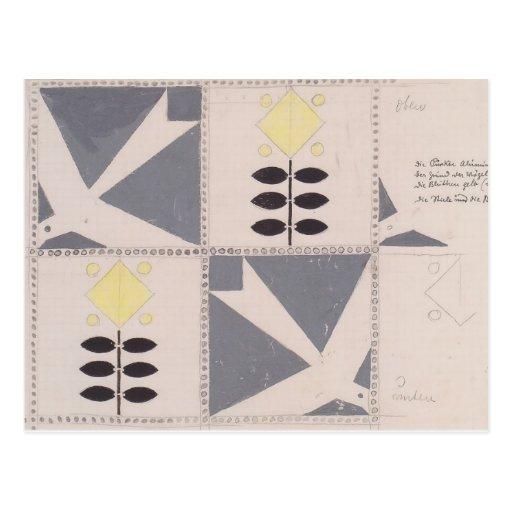 Koloman Moser- Draft of furniture decoration Post Card