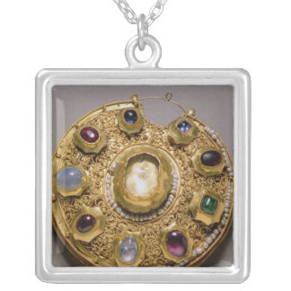 Kolt medallion, gold set with pearls and silver plated necklace