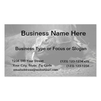 komodo dragon black and white tongue out left business card template