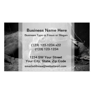 komodo dragon black and white tongue out left business card templates