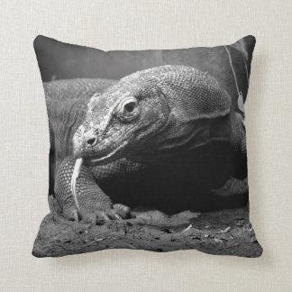 komodo dragon black and white tongue out left cushion