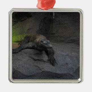 Komodo Dragon Silver-Colored Square Decoration