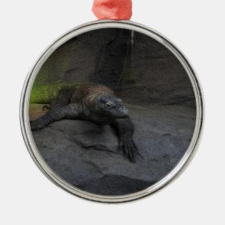 Komodo Dragon Silver-Colored Round Decoration