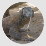 Komodo Dragon Licking Classic Round Sticker