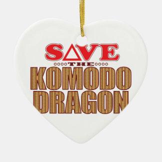 Komodo Dragon Save Ceramic Heart Decoration