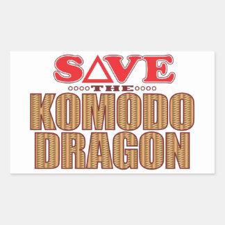 Komodo Dragon Save Rectangular Sticker