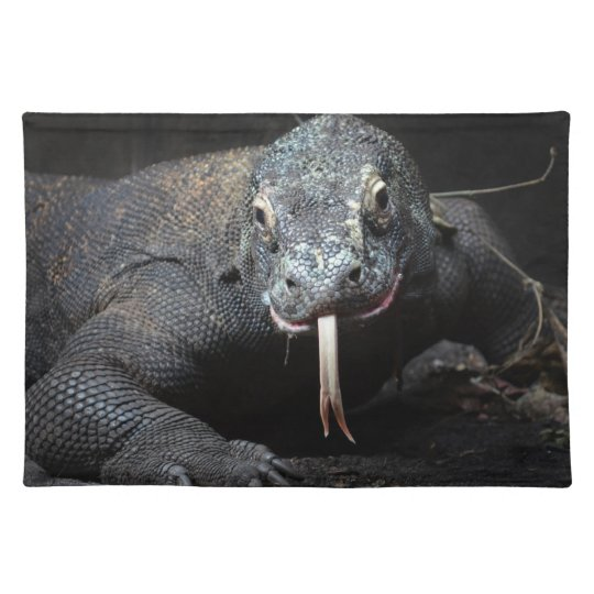 komodo dragon tongue out drooling place mat