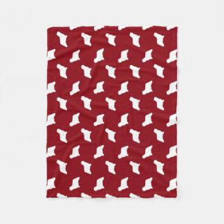 Komondor Silhouettes Pattern Red Fleece Blanket