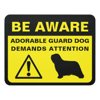 Komondor Silhoutte Funny Guard Dog Warning Door Sign