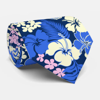 Kona Bay Hawaiian Hibiscus Aloha Shirt Print Tie