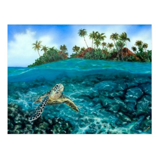 Kona Village Turtle Postcard