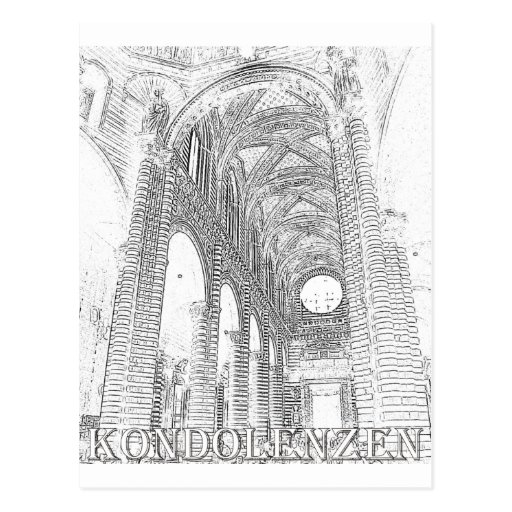 Kondolenzen - Kirche - Linie Post Card