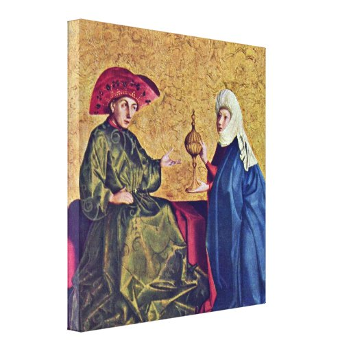 Konrad Witz - King Solomon and Queen of Sheba Stretched Canvas Prints