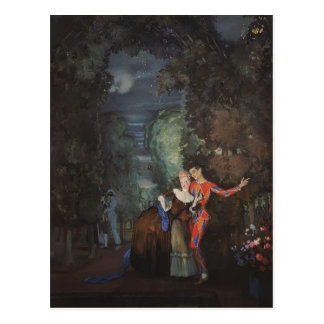 Konstantin Somov- Lady and Harlequin Postcard